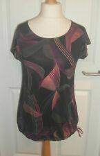 New George Womens Black Purple Pink Print Exercise Top T-Shirt Size M 12 14