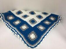 Crocheted Blanket- Geometric Decor - Blue and White Blanket-best sellers
