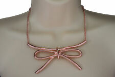 Women Copper Necklace Metal Chain Knot Bow Tie Charm Pendant Fashion Jewelry Set