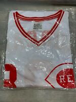 JOE MORGAN #8 Cincinnati REDS Baseball Jersey Promo Shirt Size L NEW SEALED