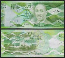 Barbados –  5 Dollars 2013 Prefix Z Replacement Uncirculated Banknote.