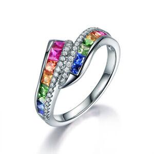 Elegant 925 Silver Charm Sapphire Emerald Multi Gems Twist Women Rings Xmas Gift