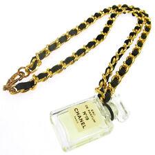 Authentic CHANEL Vintage CC Logos Gold Chain Perfume Pendant Necklace AK16670g