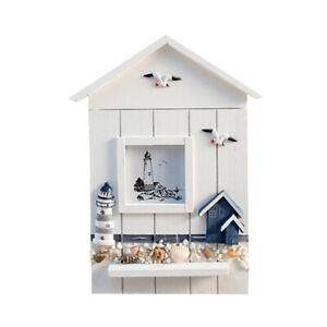 Mediterranean Style Key Cabinet Wood Nautical Style Wall Mounted Wooden Key U6U4
