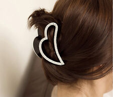 Fashion Lady's Heart Shape Black Crystal Rhinestone Claw Hair Clip Hairpin Clamp