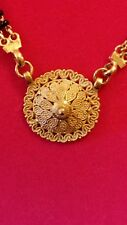 22KT YELLOW GOLD INTRICATE DETAILED MEDALLION & BLACK ONYX NECKLACE-EUC