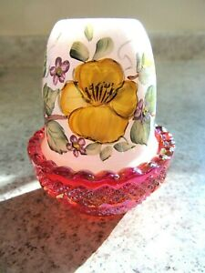 """Mosser Glass Red Carnival """"Quilted"""" Fairy Lamp, Handpainted Yellow Purple Floral"""