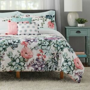 Jade Floral 10 pc Size King Bed in a Bag Bedding Set with BONUS Sheet + Pillows