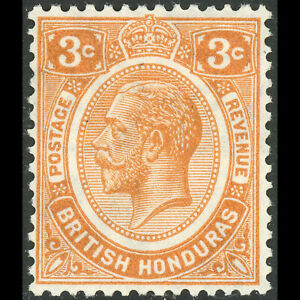 BRITISH HONDURAS 1922-33 3c Orange. SG 129. Lightly Hinged Mint. (AM634)