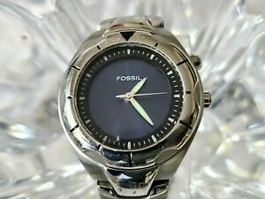Fossil Blue Two Color Changeing Dial Watch AM-3552 Stainless Steel 100M (804)