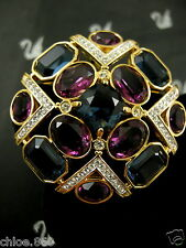 Signed Swarovski Amethyst Crystal Pin~ Brooch 22Kt Gold Plated Retired Rare New!