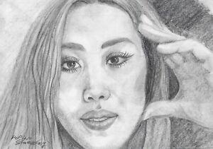 original drawing A5 24SP Modern Art samovar Graphite female portrait Signed