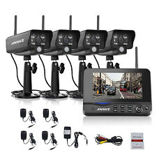 "ANNKE Wireless 4CH 7"" LCD Monitor DVR Home Video 4 Cameras CCTV Security System"