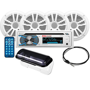 Boss Audio Marine Stereo Package, AM/FM/MP3/CD/SD