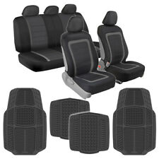 Charcoal Mesh Seat Cover Set With Gray All Weather Heavy Duty Rubber Floor Mats