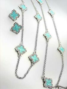 NEW 18kt White Gold Plated Blue Enamel Clover Clovers Long Necklace Earrings Set