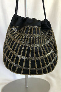 Authentic Vintage Gucci Black Gold Beaded Drawstring Evening Bag