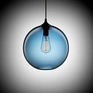 Modern Blue Glass Ball Art Deco Pendant Light Kitchen Living Room Hanging Lamp