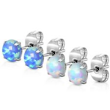 2 PAIRS PRONG SET SYNTHETIC-OPAL (BLUE/WHITE) SURGICAL STEEL STUD EARRINGS