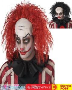 Twisted Clown Scary Costume Bald Wig Hair Cap Freak Show Creepy Halloween