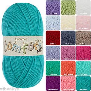 King Cole Comfort Aran 100g Knitting Yarn, Acrylic/Nylon Blend over 15 shades