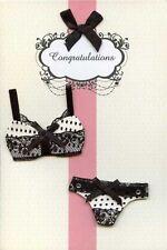 Très Jolie Carte Postale 3D - Carte Félicitations Lingerie Blanc Noir Fabricum