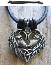 Wolf Amulett Holz keltisch neu Halskette Leder Herren schwarz Kette Herrenkette