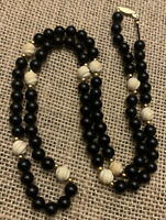 "14k Gold Vintage Necklace 5mm Black Onyx Strand 28"" Carved White Creamy Coral"