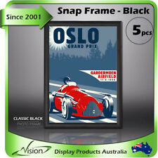 5pcs x Clip Snap Frame A4 Square Corner /Poster Frame/Picture Classic Black SNAP