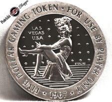 $5 PROOF STERLING SILVER SLOT TOKEN DIAMOND JIM'S NEVADA CLUB CASINO 1967 VEGAS