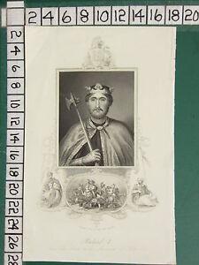 C1830 Antique Imprimé ~ Richard I Coeur De Lion &