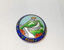 Chinese Cloisonne Enamel Great Wall Of China Design Jar Bowl Box