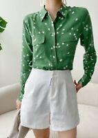 New Autumn $248 Silk Slim Signature Stars Print Green Equipment Tops Shirt XS-M