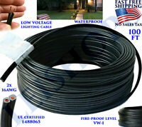LOW VOLTAGE LANDSCAPE LIGHTING WIRE 16/2 BURIAL OUTDOOR GARDEN PATIO CABLE 100FT