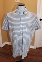 Adam Levine button down Short Sleeve Polo shirt gray white striped Size Large