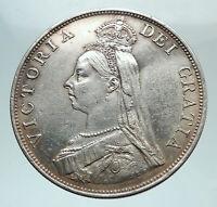 1887 UK Great Britain United Kingdom QUEEN VICTORIA Silver 2 Florin Coin i80347