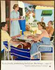 1953 US Brewers Fdn Beer PRINT AD Trailer Camp Friendships by Douglass Crockwell