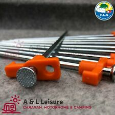 10 x Hard Ground Steel Rock Peg Hooks ORANGE Camping Tent Awning X10
