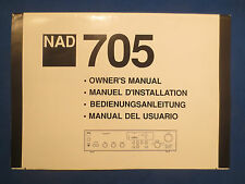 NAD 705 RECEIVER OWNERS MANUAL FACTORY ORIGINAL MULTI LANGUAGE