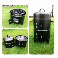 3-IN-1 PORTABLE CHARCOAL SMOKER BBQ Roasting Grill For 0I