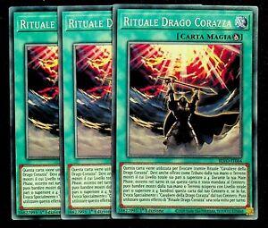 Set 3 Carte : RITUALE DRAGO CORAZZA Comune Italiano BLVO-IT064 YUGIOH