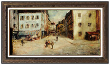 Constantin Kluge Large Oil Painting On Canvas French Artwork Signed Cityscape