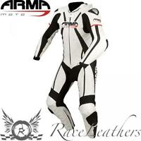 Armr Harada R Cuero de una Sola Pieza Moto Juego de Carrera Rojo Negro Blanco