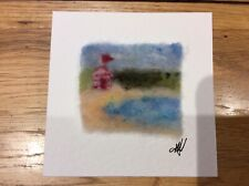 Handmade Needle Felted Unique Picture-Beach Landcape-Ideal Gift-Framed 5 x 5 inc