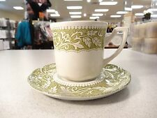 Lot of 4 Cups & 4 Saucers J &G Meakin China RENAISSANCE GREEN Sterling England