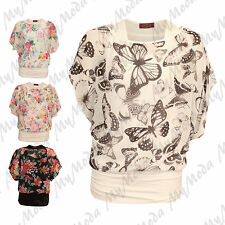 Ladies Womens Butterfly Floral Twin Layer Short Sleeve Summer Batwing Top SM ML