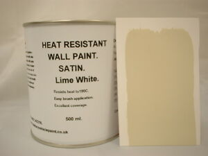 500ml Satin Lime White Heat Resistant Wall Paint For Wood Burner Stove Alcove