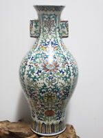 Fine Chinese DOUCAI Contrasted Colors Porcelain Double Ear Vase