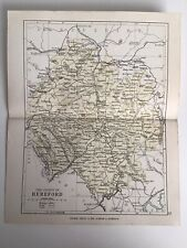 County Of HEREFORD, England, 1884 Original Antique Map, George Philip, Atlas