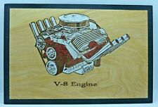 Classic V-8 Engine Wood Engraved Plaque,Wall Art,Car Art,Wall Hanging,Display